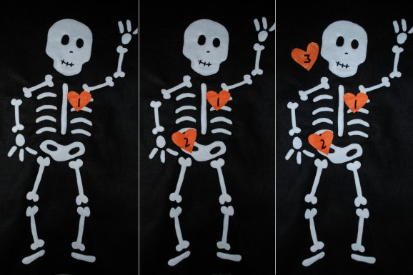 Pin the heart on the skeleton kids game honest to nod - Scary skeleton games ...