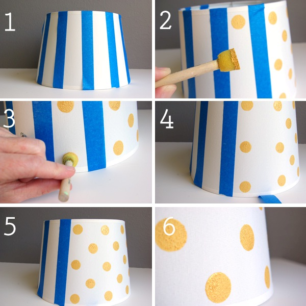 Diy gold dot lampshade honest to nod lamp3 aloadofball