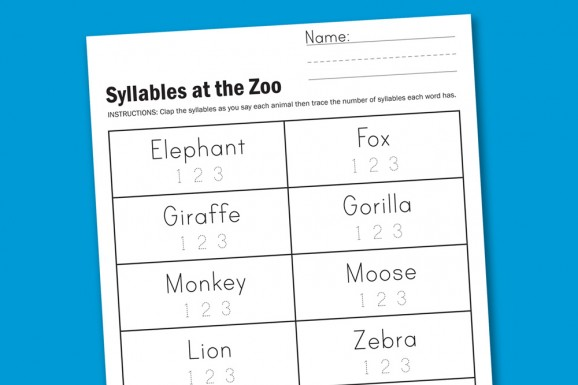 Worksheet Wednesday Zoo Syllables Cratekids Blog. Syllableszoopreview578x385. Worksheet. Syllable Worksheet At Clickcart.co
