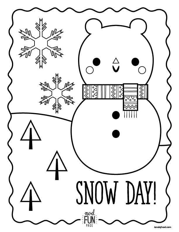 Nod Printable Coloring Pages: Snow Day | Crate&Kids Blog