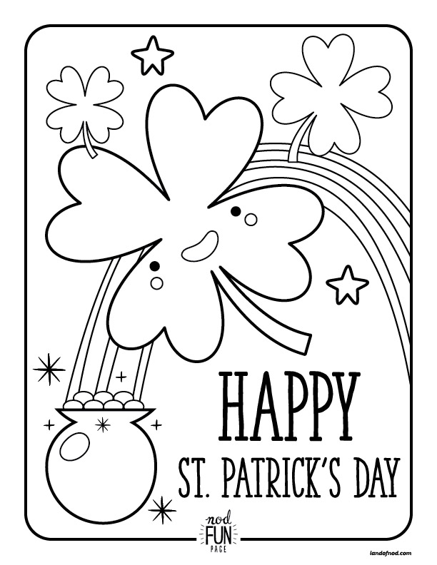 Free Printable Coloring Pages: St. Patrick\'s Day | Honest to Nod