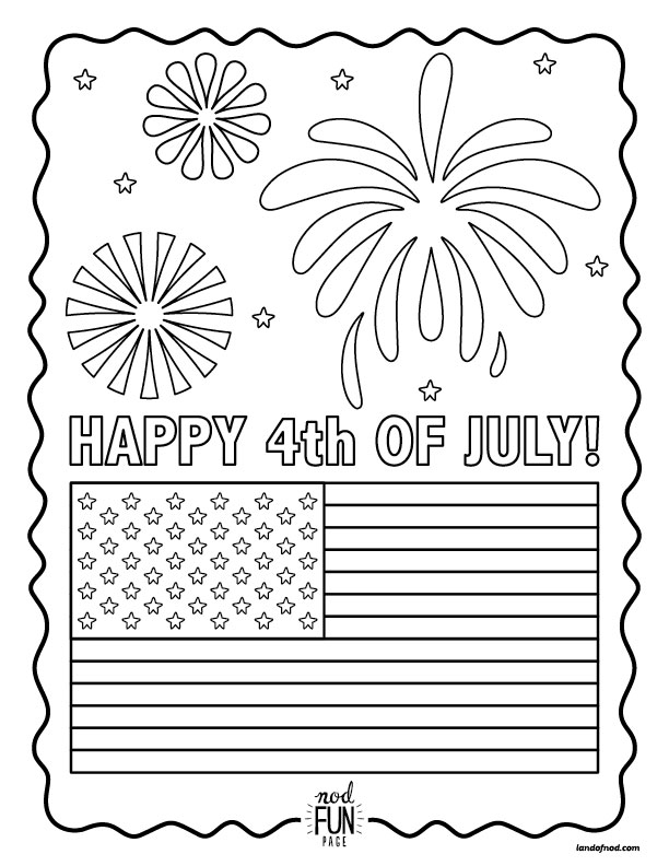Nod Printable Coloring Page - Happy 4th of July