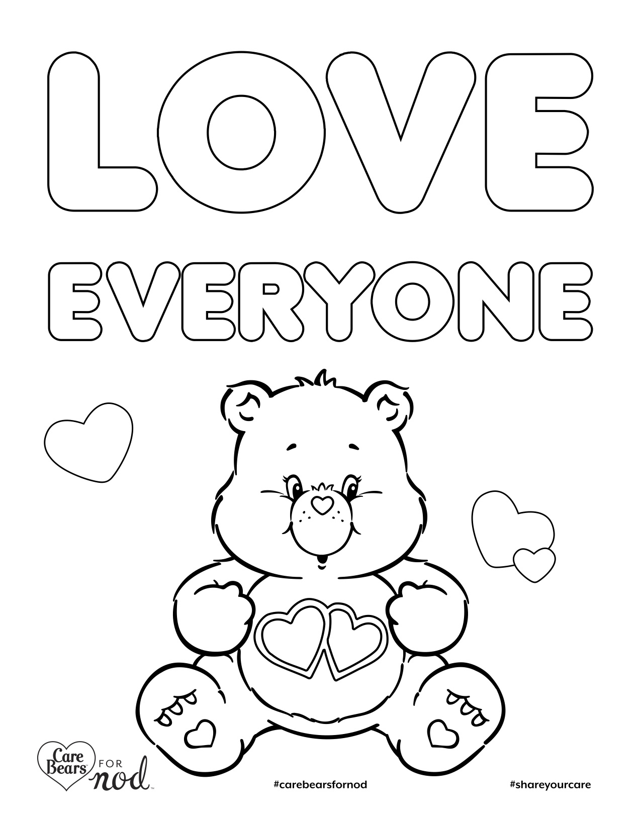 Share Your Care Day Printable Care Bears Coloring Pages Honest to Nod